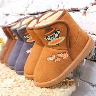 2014冬季新款加厚保暖雪地靴可爱卡通猴子女童鞋中小童男童包邮